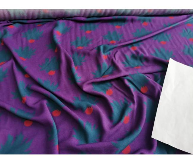 Плательная вискоза с печатью, Фон фиолетовый