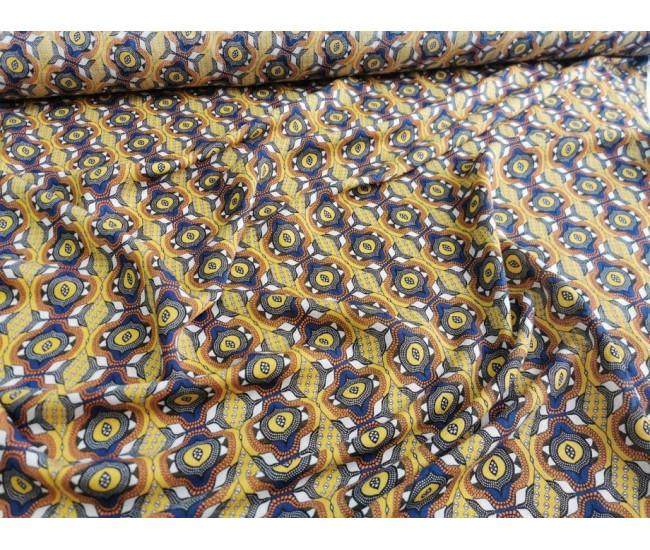 Плательная-блузочная ткань с печатью, Фон желто- горчичный.
