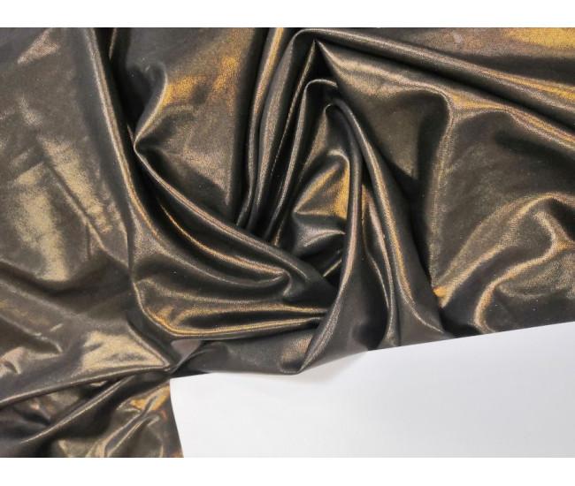 Плательно-блузочный трикотаж  с напылением,  цвет черный напыление бронза, отрез 3,85м