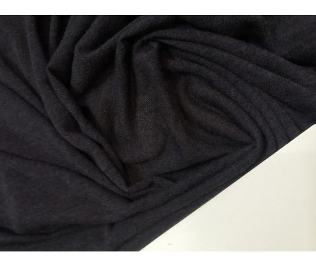 Вязаный трикотаж,  цвет чернильный меланж, отрез 3,0м
