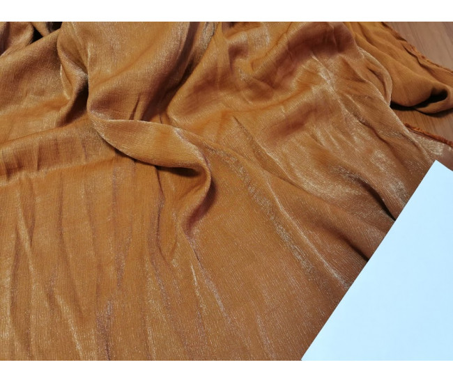 Стильная плательная двусторонняя ткань  с жатым эффектом и с мерцанием, отрез 5,70м