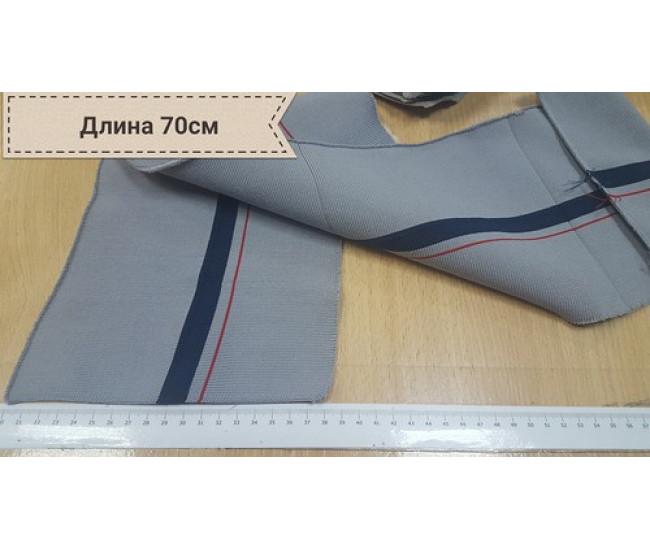 Серый подвяз в широкую полоску темно синего цвета и  узкую красную полоску осталось 5 штук