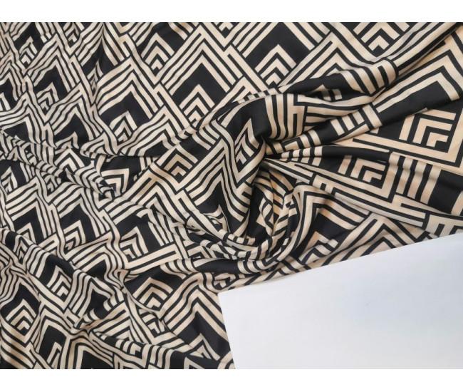 Искусственный шёлк кади,  отрез 5.25м,  цвет бежевый /чёрный