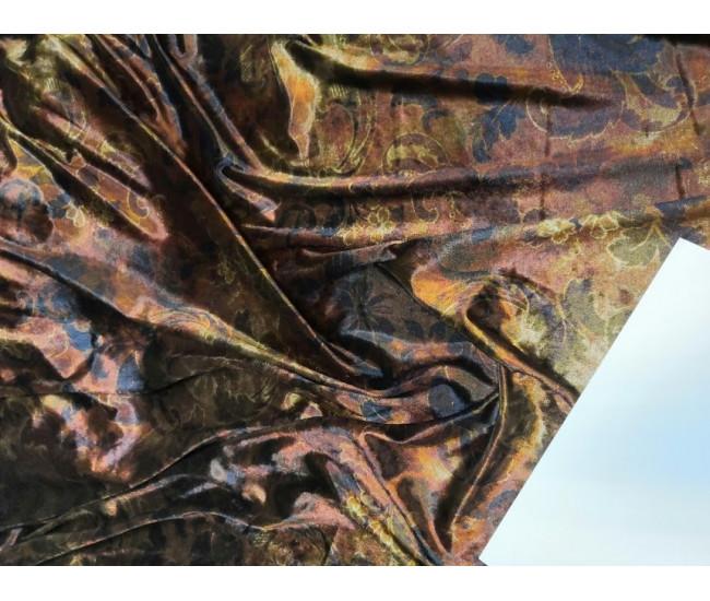 Костюмно-плательный велюр,  отрез 4.35м,  цвет фона медно-бронзовый