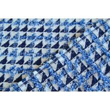Хлопковая костюмно-плательная двусторонняя фактурная  ткань ( имитация пэчворк с бахромушками)
