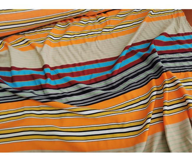 Плательно-блузочная ткань с печатью в полоску