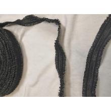 Декоративная резинка, цвет черный, метанить золото,  ширина 3см.