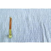 Блузочно-плательный хлопок крэш.  Цвет молочный в синюю полоску поперек кромки