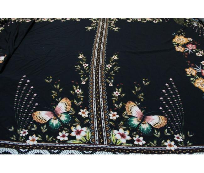 Плательно-блузочная купонная  вискоза,купон 2,70м,  фон черный